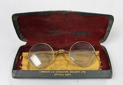 Vintage Gold Rimmed Frames Round Spectacles Glasses with Lenses BOXED - H29