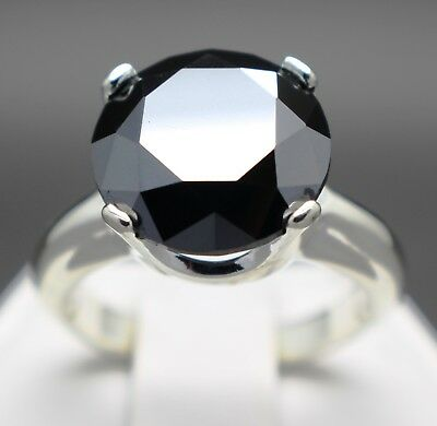 6.28cts 12.18mm Natural Black Diamond Ring, Certified, AAA Grade & $3340 Value