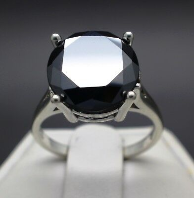 6.25cts 11.93mm Natural Black Diamond Ring, Certified, AAA Grade & $3325 Value.