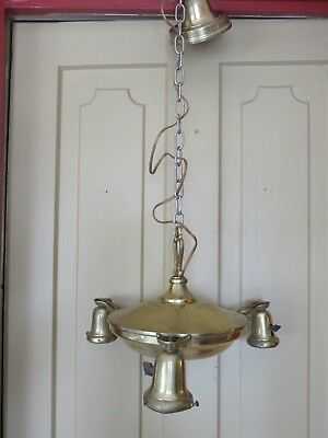 Antique Victorian Williamson Brass Ornate Ceiling Chandelier Light Electric