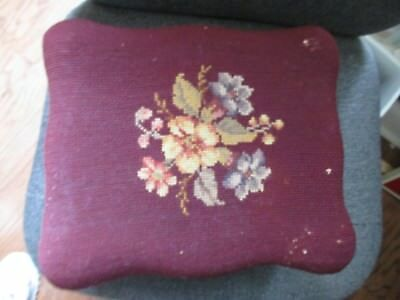 Vintage Footstool Floral Needlepoint Cherry Wood Ottoman Burgundy Wine GUC Short