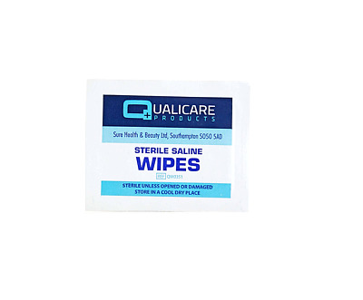 Qualicare Sterile Saline Skin Safe Wound Cleaning First Aid Wet Wipes