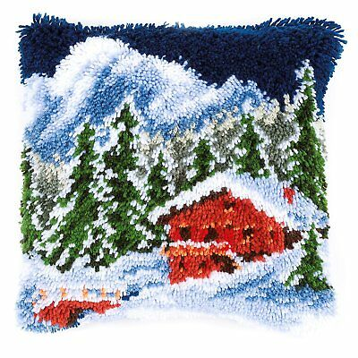Winter Mountains Latch Hook cushion front kit by Vervaco 40x40cm