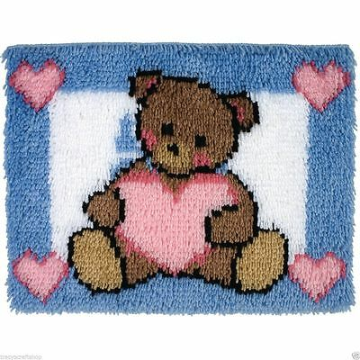 """Teddy With A  Heart Latch Hook Kit 20x27"""" From Caron"""