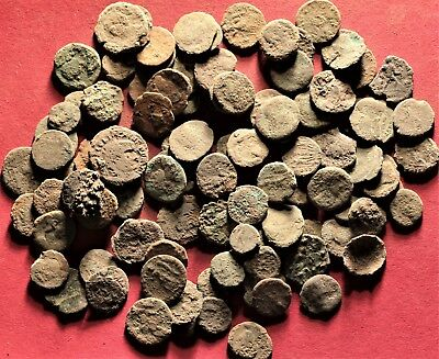 Lot of 100 Ancient Roman Bronze Fragment Coins, AE3, AE4 #12