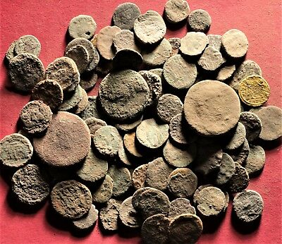 Lot of 100 Ancient Roman Bronze Fragment Coins, AE3, AE4 #24