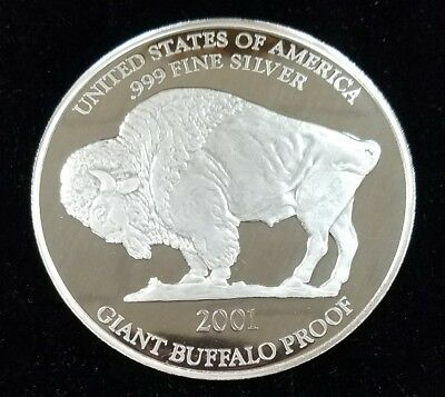 2001 Giant Silver Buffalo Proof 1 oz .999 Fine Silver Bullion Round J815