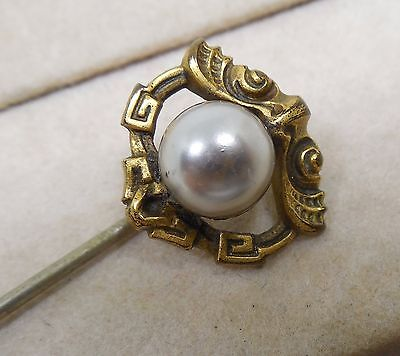 Vintage to Antique Egyptian Revival Stickpin With Gray Faux? Pearl