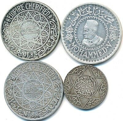 4 Old Silver Coins From Morocco 1882-1956