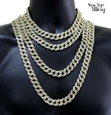 "Miami Cuban Link Iced Out 14k Gold Plated 16""-30"" Choker Hip Hop Chain Necklace"