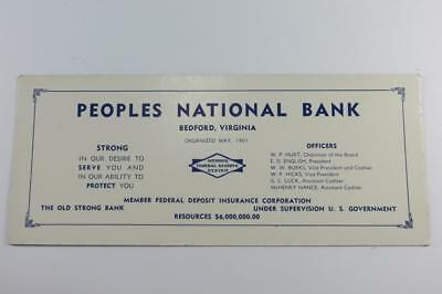 Vintage Ink Blotter Peoples National Bank Bedford Va