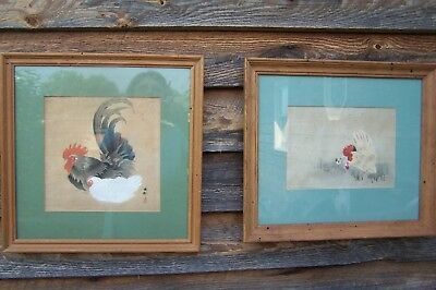 Antique Asian Woodblock on Silk Pair of Rooster & Hen Framed Pictures