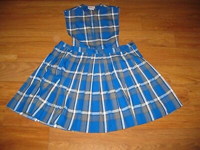 Schoolbelles Blue Plaid School Uniform Jumper Size Girls 18X NWOT