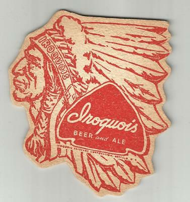 "1940's  Iroquois Beer & Ale Coaster Buffalo, NY 4"" Indian Head Sculpted #003 Red"