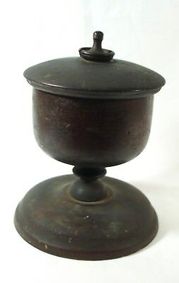 Antique Victorian ACORN-SHAPED Wood Spool Thread Holder w/ Lid