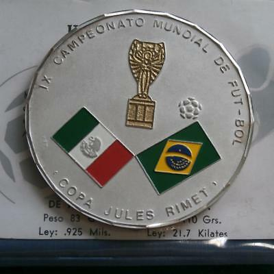 1970 Mexico Medal Football world Championship 81 gr silver flag colors