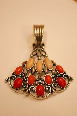 Preowned Carolyn Pollock Relios Flamenco Sterling & Coral Pendant For Necklace