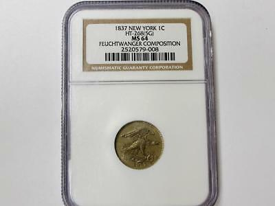 1837 Feuchtwanger Pattern One Cent Ngc Ms64 Rare Early Type Coin