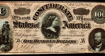 1864 $100 Confederate Treasury Note ** MORE CURRENCY FOR SALE **