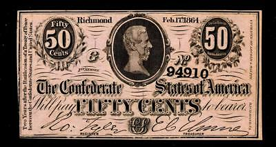 T72 50 Cents 1864. PF-1. Confederate Treasury Note ** MORE CURRENCY FOR SALE
