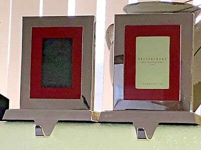 Pottery Barn Two Silver Frame Christmas Stocking Holders 1995