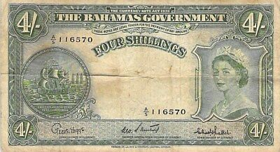 BAHAMAS GOVERNMENT 4 SHILLINGS NOTE 1953 P-13c