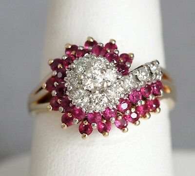 14K Yellow Gold 1/3 ctw Diamond & 2 3/4 ctw Ruby Swirl Cocktail Ring (09228)