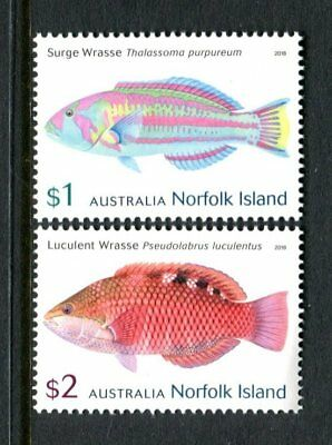 2018 Norfolk Island Wrasses - MUH Set of 2 Stamps