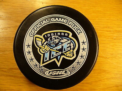 USHL Indiana Ice Pepsi Ad Reverse Logo Official Game Hockey Puck Collect Pucks
