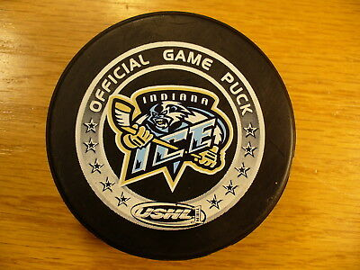 USHL Indiana Ice Arni's Ad Reverse Logo Official Game Hockey Puck Collect Pucks