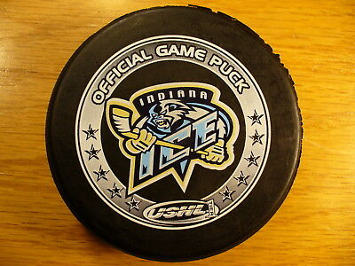 USHL Indiana Ice Shaded Ring W/Stars Official Game Hockey Puck Collect Pucks