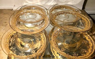 Set of 6 Antique St Louis Gold Encrusted Crystal Plates