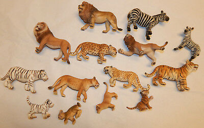 Lot of Schleich Wild Safari Animals Lions, Zebras, Tigers, +Lot of 14