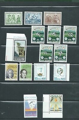 San Marino large lot of different unmounted mint stamps all MNH 11 scans (B)