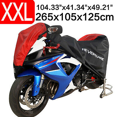 XXL Black&Red Waterproof Motorcycle Cover Outdoor UV Protection Fit Honda Yamaha
