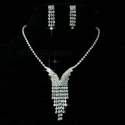 Wedding  Party butterfly Crystal   Necklace Earring  Silver plated Jewelry N168
