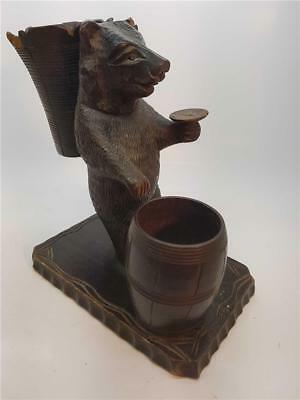 Vintage Black Forest Carved Bear Table Match Striker for Restoration