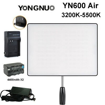 Yongnuo YN600 Air LED Video Light 3200-5500K + F750 400mAh Battery + Adapter US