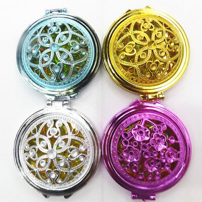 Portable Compact Girl Double-Side Folded Hollow Out Makeup Hand Pocket Mirror