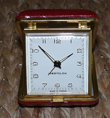 Vintage Westclox Folding Travel Alarm Clock Fold-up -working- red cover