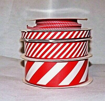 1M RED & WHITE CANDY CANE GROSGRAIN  RIBBON - 3/6/10/22/38mm #CRAFT/GIFT WRAP