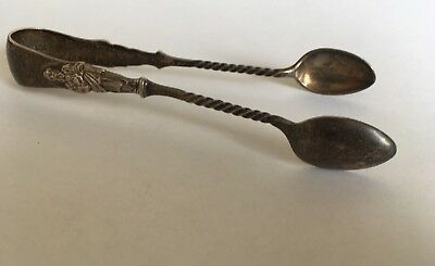 Antique Early 20th Century Silver Engraved Hallmarked Apostle's Sugar Tongs