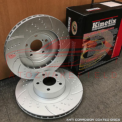 FOR SUBARU IMPREZA 2.5 WRX 05-07 FRONT DIMPLED GROOVED KINETIX BRAKE DISCS 295mm
