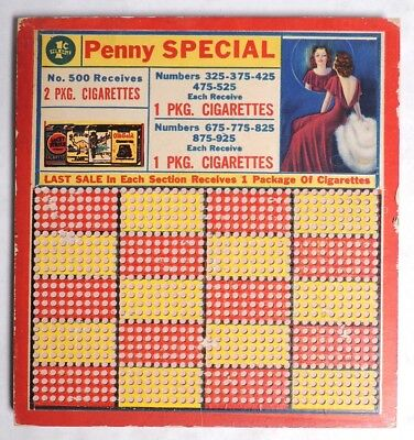 ESZ6110 Vintage UNUSED PENNY PUNCH BOARD Pin Up Girl Camel Lucky Strike Old Gold