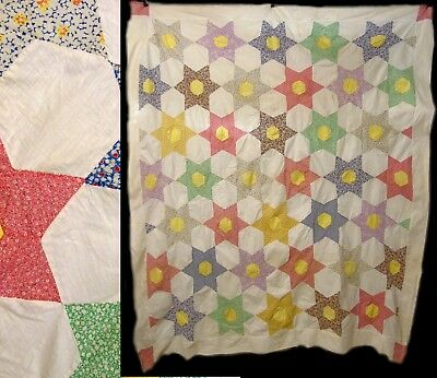 Vintage Primitive Feed Sack Cotton Star Block Bed Spread Coverlet Quilt Top Only