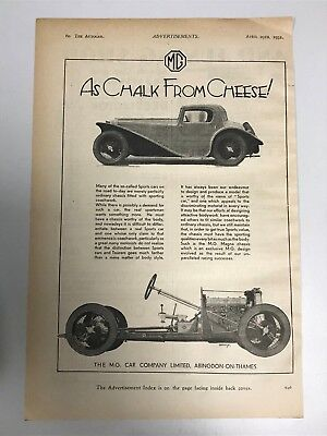 VERY RARE 1932 MG (MG Car Company) 'Chalk From Cheese' Old Car Advert L37