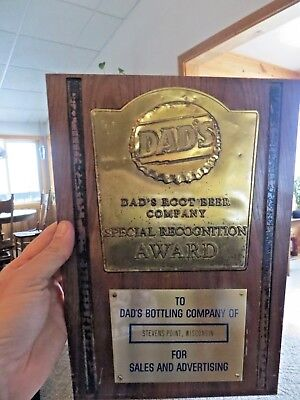 DAD'S ROOTBEER COMPANY SPECIAL RECOGNITION AWARD SIGN PLAQUE Stevens Point Wis