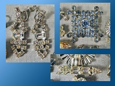27 Piece Lot of Vintage Sparkling Rhinestone Jewelry Brooches Pins and Earrings