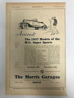 VERY EARLY RARE 1926 MG (MG Super Sport) Morris Garages Old Car Advert L53