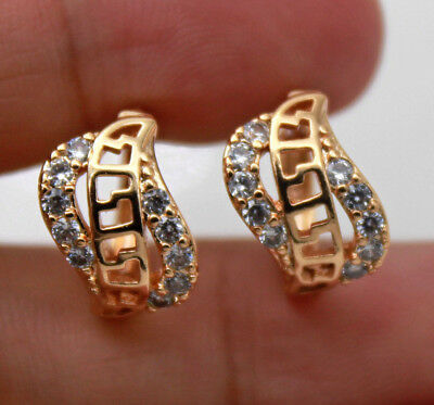 18K Gold Filled - Hollow Geometry Swirl Topaz Gemstone Women Hoop Earrings Gift